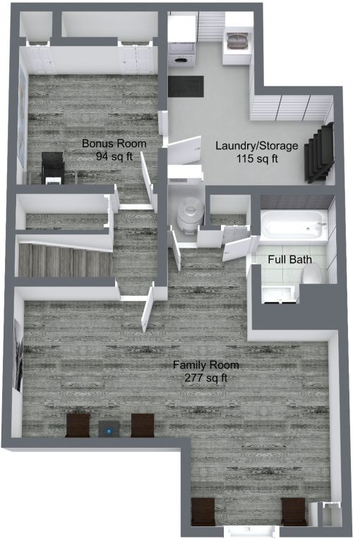 Basement 3D Floor Plan.