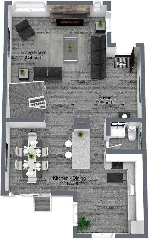 Main Level 3D Floor Plan.