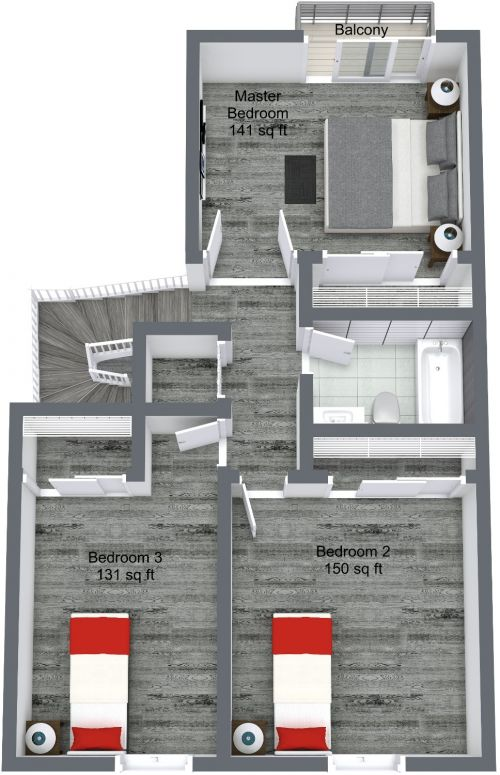 2nd Level 3D Floor Plan.
